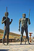 Statues of Guise and Ayoze at Mirador Morro de la Cruz, Near Betancuria, Fuerteventura, Canary Islands, Islas Canarias, Atlantic Ocean, Spain, Europe