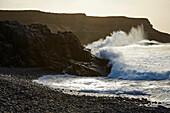 High waves at the coast of Los Molinos, Fuerteventura, Canary Islands, Islas Canarias, Atlantic Ocean, Spain, Europe