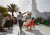 San Bartolomé, Folklore group dancing at the Casa Museo del Campesino, Farmhouse restored by César Manrique, Lanzarote, Canary Islands, Islas Canarias, Spain, Europe