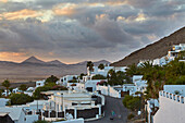 View from the museum Lagomar at Nazaret (Teguise) and the direction of Tao and the surrounding volcanoes, Nazaret (Teguise), Atlantic Ocean, Lanzarote, Canary Islands, Islas Canarias, Spain, Europe