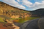Crater lake Charco de los Clicos near El Golfo, Atlantic Ocean, Lanzarote, Canary Islands, Islas Canarias, Spain, Europe