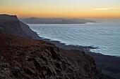 View from the viewpoint Mirador del Rio at El Jable and the Montanas del Fuego de Timanfaya, Sunset, Lanzarote, Canary Islands, Islas Canarias, Spain, Europe
