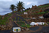 Illuminated open air nativity figurines in the town of Yaiza, Atlantic Ocean, Lanzarote, Canary Islands, Islas Canarias, Spain, Europe