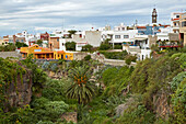 View across luxuriant vegetation at Buenavista del Norte, Tenerife, Canary Islands, Islas Canarias, Atlantic Ocean, Spain, Europe