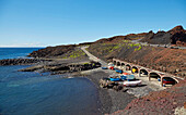 Little fishing port with boats at the Punta de Teno, Teno mountains, Tenerife, Canary Islands, Islas Canarias, Atlantic Ocean, Spain, Europe