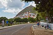 Fahrradfahrer in San Andres, Anaga Gebirge, Teneriffa, Kanaren, Kanarische Inseln, Islas Canarias, Atlantik, Spanien, Europa
