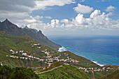 View across the Anaga mountains at Taganana and the sea, Tenerife, Canary Islands, Islas Canarias, Atlantic Ocean, Spain, Europe