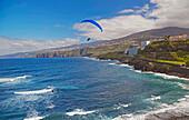 Paraglider at coast of Puerto de la Cruz, Tenerife, Canary Islands, Islas Canarias, Atlantic Ocean, Spain, Europe