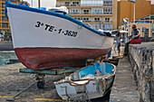 Fishing boats in the old harbour at Puerto de la Cruz, Tenerife, Canary Islands, Islas Canarias, Atlantic Ocean, Spain, Europe