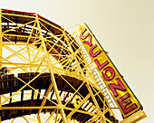 The Cyclone roller coaster, Coney Island, Brooklyn, NY. Since it first opened on June 26, 1927, the Cyclone has emerged as the outdoor amusement industry's most famous, most influential, and most copied individual ride. Steel track on almost entirely wood