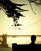 Rear view silhouette of a seated person, Golden Gate Bridge in the background. San Francisco, CA. (releasecode: rrk_mr1)