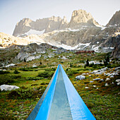 The top of a blue tent, pitched in a outdoor environment, Ansel Adams Wilderness Area, Sierra Nevada, CA. USA.