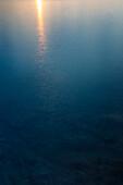 Sun reflecting in sea at dawn, Schoodic Peninsula, Acadia National Park, Maine, USA
