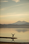 Silhouetted image of an adult woamn doing a handstand along the shoreline of Lake Pend Oreille near Sandpoint, Idaho.