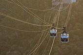 Overhead cable cars at Sugarloaf Mountain, Rio de Janeiro, Brazil
