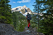 Hiker in natural setting with view of mountain peak, Mount Olympus, Washington State, USA