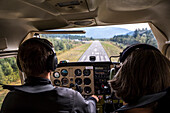 View from cockpit of landing airplane, Squamish, British Columbia, Canada