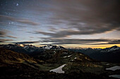 Scenery with mountains at night seen from Whistler Mountain, Garibaldi Provincial Park, Whistler, British Columbia, Canada