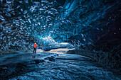 Huge icecave in the Breidar-Merkurjökull glacier, southcoast, Iceland