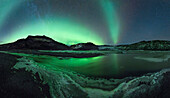 Northern lights and starry sky at the Solheimajokull glacier lagon, southcoast,  Iceland