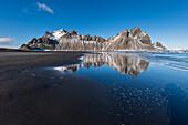 black beach of Stokksnes below the mountain Vestrahorn, east of Höfn í Hornafirði,  Iceland