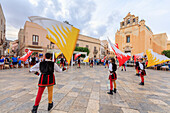 Traditional costumes and flags, Favignana island, Aegadian Islands, province of Trapani, Sicily, Italy, Europe