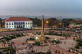 View over the Empire Square at nightime, Bissau, Guinea Bissau, West Africa, Africa