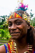 Traditional dressed girl in a war ceremony, Manus Island, Admiralty Islands, Papua New Guinea, Pacific