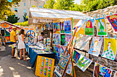 Art for sale at a stall in Zagreb, Croatia, Europe