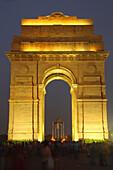 India Gate at night, New Delhi, India, Asia