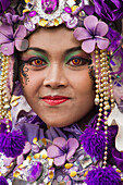 Indonesian woman in carnival costume celebrating Malan's 101st year anniversary, Malang, East Java, Indonesia, Southeast Asia, Asia