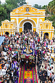 High-angle view over the Holy Tuesday Procession leaving the chapel El Calvario near Antigua during Holy Week 2017, Antigua, Guatemala, Central America