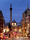 Nelsons Column and Trafalgar Square from Whitehall, London, England, United Kingdom, Eurpe