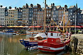 The Vieux Bassin (Old Harbour) and St. Catherine's Quay, Honfleur, Calvados, Basse Normandie (Normandy), France, Europe