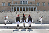 Changing of the Guard at the Tomb of the Unknown Soldier in Syntagma Square, Athens, Greece, Europe