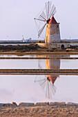 Windmill reflected in the salt flats, Saline dello Stagnone, Marsala, province of Trapani, Sicily, Italy, Mediterranean, Europe