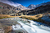 Flowing water of alpine creek, Alpe Fora, Malenco Valley, province of Sondrio, Valtellina, Lombardy, Italy, Europe