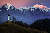 The Church of St. Primoz, Jamnik, at sunset, Slovenia, Europe