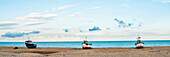 Fishing boat on Dungeness Beach, Kent, England, United Kingdom, Europe