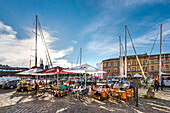 Restaurant at marina, Stralsund, Mecklenburg-Western Pomerania, Germany