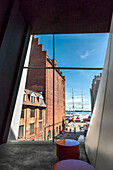 View from Ocean museum towards harbour, Ozeaneum, Stralsund, Mecklenburg-Western Pomerania, Germany
