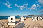 Beach chairs and pier, Heringsdorf, Usedom island, Mecklenburg-Western Pomerania, Germany