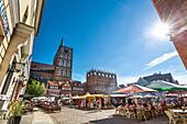 Nikolai church and town hall, market square, Stralsund, Mecklenburg-Western Pomerania, Germany
