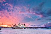 Pier at sundown, Ahlbeck, Usedom island, Mecklenburg-Western Pomerania, Germany
