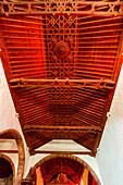 Mudejar style wooden panaled ceiling, Iglesia Nuestra Senora de la Luz, church, 16th./17th. century, Santo Domingo de Garafia, , UNESCO Biosphere Reserve, La Palma, Canary Islands, Spain, Europe