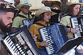 folk music band, livestock fair in San Antonio del Monte, Garafia region, UNESCO Biosphere Reserve, La Palma, Canary Islands, Spain, Europe