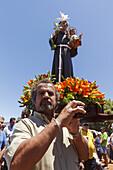 procession in honour des Patrons San Antonio, livestock fair in San Antonio del Monte, Garafia region, UNESCO Biosphere Reserve, La Palma, Canary Islands, Spain, Europe