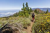 hiking, women, ascent to Birigoyo mountain, 1807m,  Parque Natural de Cumbre Vieja, UNESCO Biosphere Reserve, La Palma, Canary Islands, Spain, Europe