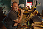 worker with cigar, manufacture of cigars, Brena Alta, UNESCO Biosphere Reserve, La Palma, Canary Islands, Spain, Europe