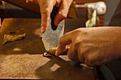 manufacture of cigars, cutting a cigar, knife, hands, Brena Alta, UNESCO Biosphere Reserve, La Palma, Canary Islands, Spain, Europe
